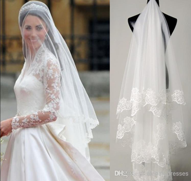 Hızlı Teslimat Sıcak Satış Büyük İndirim Kim Kardashian Düğün Peçe Gelin Veil Dantel TS006