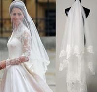 boda kardashian al por mayor-Entrega rápida Venta caliente Descuento grande Kim Kardashian Velo nupcial Velo de novia de encaje TS006