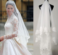Wholesale bridal veils lace - Fast Delivery Hot Sale Big Discount Kim Kardashian Wedding Veil Bridal Veil Lace TS006