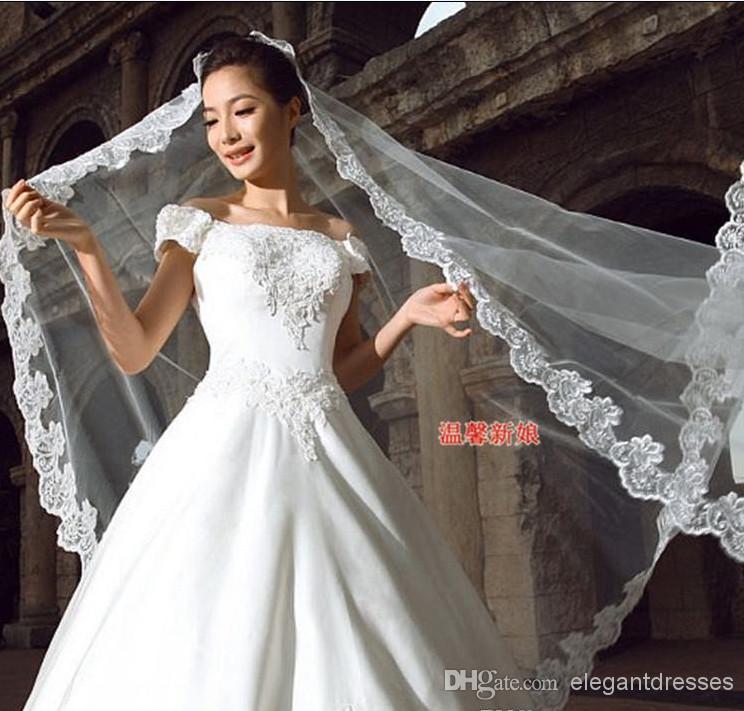 速い配達熱い販売ビッグディスカウントキムカーダシアンの結婚式のベールブライダルベールレースTS006