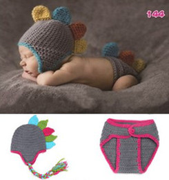 Wholesale Couture Baby Wholesale - Handmade Dinosaur Baby Photography Props Garments Children Boys Girls Hat +Diaper Cover 2pcs Couture B2814