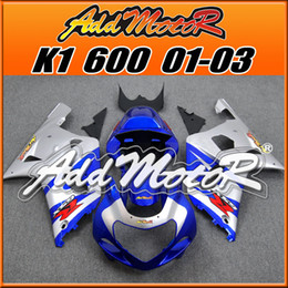 Wholesale Silver Blue Gsxr Fairings - Addmotor ABS Fairing For Suzuki GSXR600 GSX-R 600 GSXR 600 750 2001 2002 2003 01 02 03 K1 Silver Blue S6169+5 Free Gifts