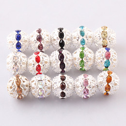 jarrones decorativos de cristal Rebajas 100 unids 10 mm plata Crystal Rhinestone bola espaciador suelta perlas encajan pulseras del encanto europeo resultados de la joyería