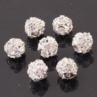Wholesale Zinc Spacer Beads - 100pcs 8mm Crystal Rhinestone Silver Tone Ball Spacer LOOSE Beads Hydrangea fit European Charm Bracelets Jewelry Findings
