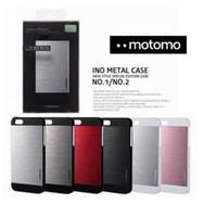 Wholesale Iphone I5c Cases - i4 i5 i5s i5c INO Motomo Hybrid Case Brushed Aluminium PC + Metal Ultra Thin Toughened Hard Cover for iPhone 4 4s 5 5s 5c Retail Box Package