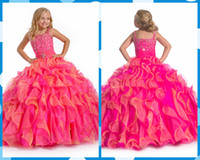 Wholesale Girls Green Pageant Dress Sequins - Hot Sale Ball Gown Flower Girl Dresses for Weddings Spaghetti Straps Sequins Beads Ruffles Floor Length Girl's Pageant Dresses