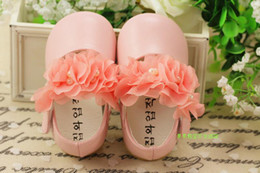 Wholesale White Flower Girl Shoes Sale - Flower Baby Girl Princess Dress Shoes Lace Sweet Toddler Baby First Walker Shoes Kids Shoes 1pair Retail Sale TX10
