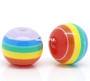 "Free Shipping 200pcs Multicolor Striped Round Resin Spacer Beads 10mm(3 8"") (B18809) wholesale jewelry making on Sale"
