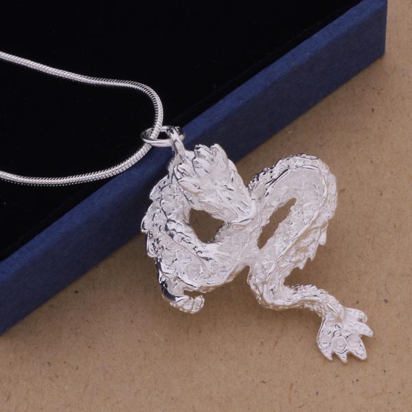 Högkvalitativ 925 Silver Plated White Dragon Pendant Halsband Fashion Personliga Smycken Gratis frakt 10st /