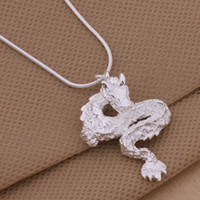 Wholesale 925 Silver Dragon Necklace - High quality 925 silver plated White Dragon pendant necklace fashion personalized jewelry free shipping 10pcs lot