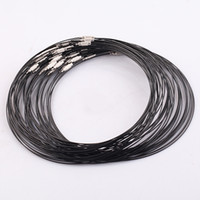 Wholesale Choker Screw - 18 Inch 50PCS LOT black Stainless Wire Cable 1MM Steel Chain Cord Necklace Screw Clasp Free shipping