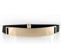 Wholesale Elastic Belt Plate - 4cm women lovely metal plated metallic gold elastic belt