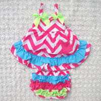 Wholesale Infant Baby Swing - baby chevron sets girls strapless swing dresses + ruffle lace bloomers shorts kids boutique outfits children summer clothes infant leopard s
