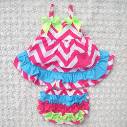 Wholesale Baby Girl Leopard Pink - baby chevron sets girls strapless swing dresses + ruffle lace bloomers shorts kids boutique outfits children summer clothes infant leopard s