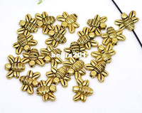 Wholesale 18k Gold Jewelry Sale - Free Shipping 250pcs Antique Gold Tone Bee Charms Beads 14x12mm Jewelry Findings making DIY hot sale