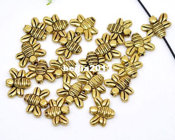 Livraison gratuite 250 pcs Antique Gold Tone Bee Charms Perles 14x12mm Résultats de bijoux faisant bricolage vente chaude