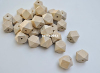 Wholesale Blue Wood Beads - Free shipping! 100pcs lot 10-20mm natural unfinished geometric wood spacer beads jewelry  DIY wooden necklace making findings DIY
