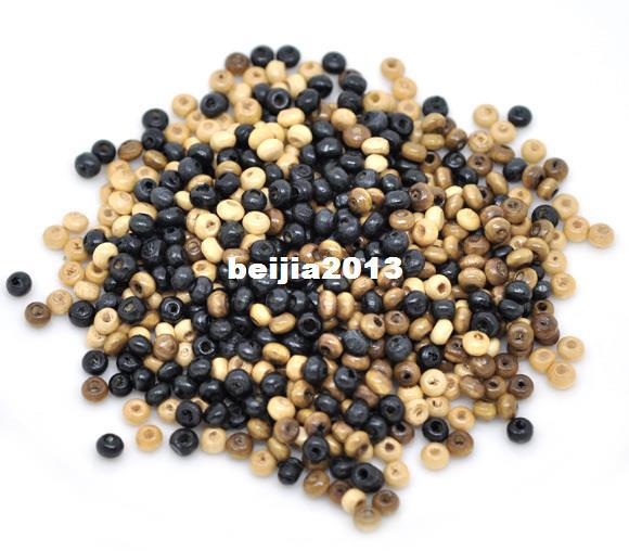 best selling Free Shipping 3000pcs lot Mixed Rondelle Tiny Wood Spacer Beads 4x3mm wholesale jewelry making DIY hot sale