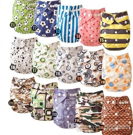 Nouveau Prined Tissu Respirant Taille Élastique Infantile Lavable Couches Réutilisables Nappy One Pockert couches Sans Inserts