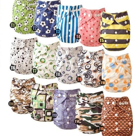 top popular New Prined Breathable Fabric Elastic Waist Infant Cloth Diaper Reusuable Nappy one pockert nappies Without Inserts 5 Pcs 2021