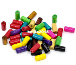 Wholesale Shipping Tubes Wholesale - Free Shipping 500pcs Random Mixed Color Tube Wood Spacer Beads 12x6mm