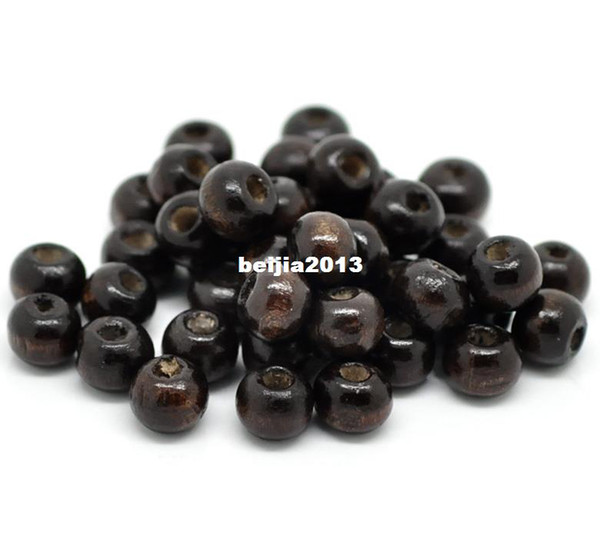 best selling Free Shipping 1000pcs Coffee Round Wood Spacer Beads 8x6mm jewelry making DIY findings hot sale fit bracelet necklace