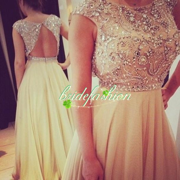2014 Bling Rhinestions Red Carpet Dressese Bateau Backless A line Prom Dresses Custom made Formal Crystal Evening gowns