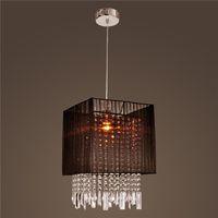 Wholesale Fabric Light Fixture - Stylish Pendant Light with Black Fabric Shade Modern Crystal LED Chandelier Ceiling Light Fixture Lighting Crystal Chandelier Pendant Lamps