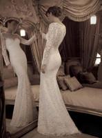 Wholesale Elie Saab Wedding Mermaid Dress - Newest Delicately White High Neck Sheath Long Sleeve Elie Saab Long Sleeves Wedding Dress 2016 Mermaid New Arrival