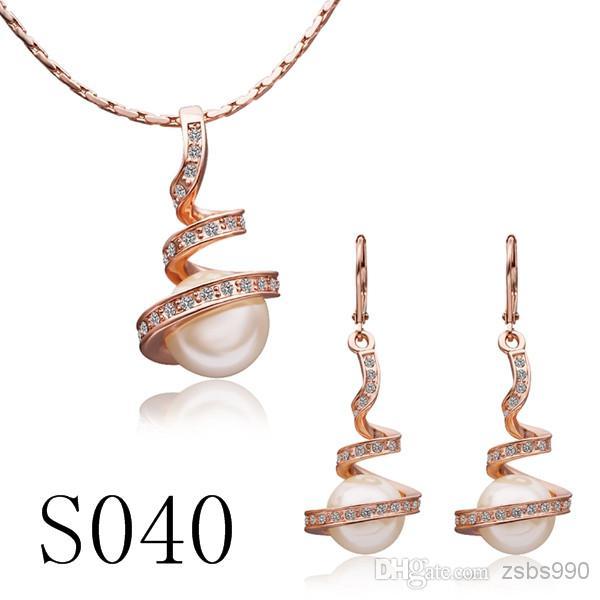混合注文高品質メッキ18Kゴールドパールネックレスイヤリングファッションジュエリーセット婚約ギフト送料無料8セット/ロット