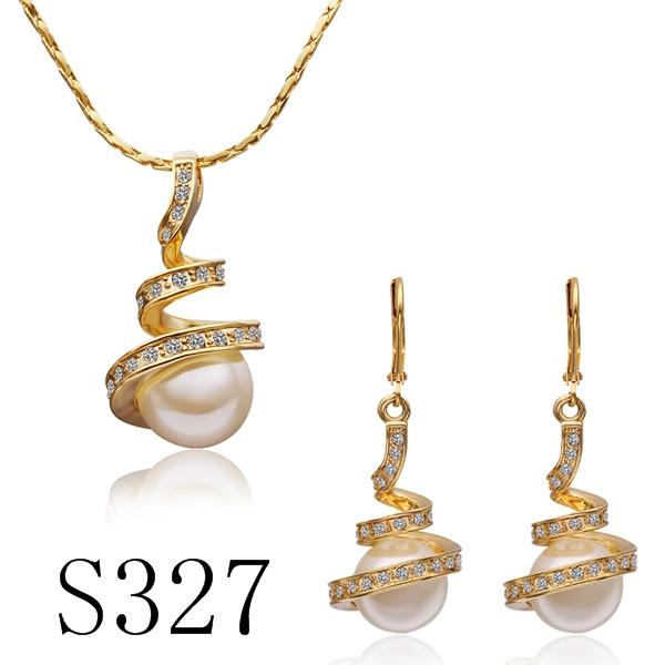 high quality plated 18K gold pearl necklace & earrings Fashion Jewelry Sets Engagement Gifts