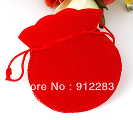 Wholesale Velvet Jewelry Bag Red - Super Deal!! Free Shipping 100pcs 70*80mm Lovely Thin Red Velvet Drawstring Pouch Bag Jeweley Bag,Xmas Wedding Party Gift Bag