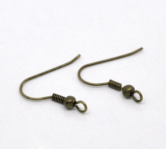 뜨거운 판매 무료 배송 골동품 청동 귀걸이 와이어 후크 19x18mm 결과 DIY 만드는 도매 보석
