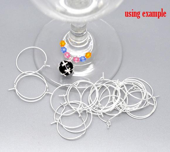 Silver Plated Wine Glass Charm Rings /Earring Hoops 25x21mm Findings Wholesale jewelry making finding