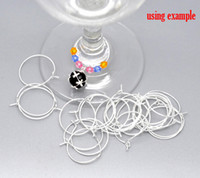 Livraison gratuite 600pcs Silver Plated Wine Glass Charm Rings / Earring Hoops 25x20mm Findings Wholesale