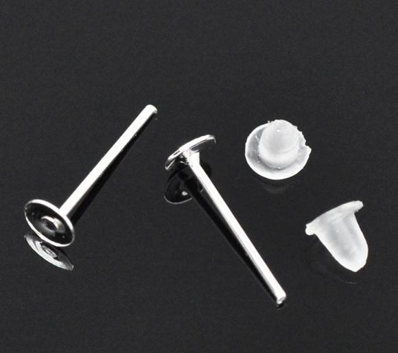 Frete Grátis 500 pares de Prata Banhado Brinco Post W / Rolhas 4mm 6mm 8mm 10mm Descobertas Jóias