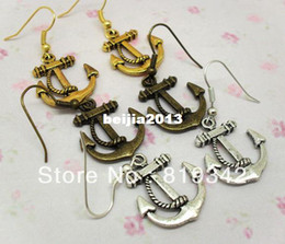 Wholesale Sailor Vintage - New FreeShipping 12pcs(6pairs) FUNKY VINTAGE ANCHOR EARRINGS RETRO METAL NAUTICAL SAILOR party dress jewelry gift