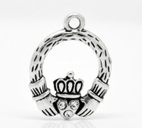 Wholesale making silver rings resale online - Antique Silver Tone Rhinestone Claddagh Ring Charm Pendants x18mm Jewelry Findings making DIY J0506F