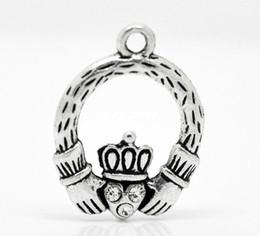 Подвесные кольца онлайн-Античный серебряный тон горный хрусталь Claddagh кольцо Шарм подвески 25x18mm ювелирные изделия выводы /изготовление DIY Оптовая J0506F