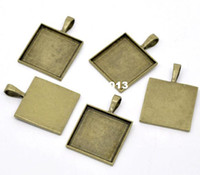 Wholesale black antique frames - Free Shipping 10pcs Antique Bronze Cameo Frame Square Settings Pendants 38x27mm(Fit 25x25mm) Jewelry Findings Wholesale