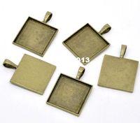antike quadratische anhänger groihandel-Freies Verschiffen 10 stücke Antike Bronze Cameo Rahmen Platz Einstellungen Anhänger 38x27mm (Fit 25x25mm) Schmuck Erkenntnisse Großhandel