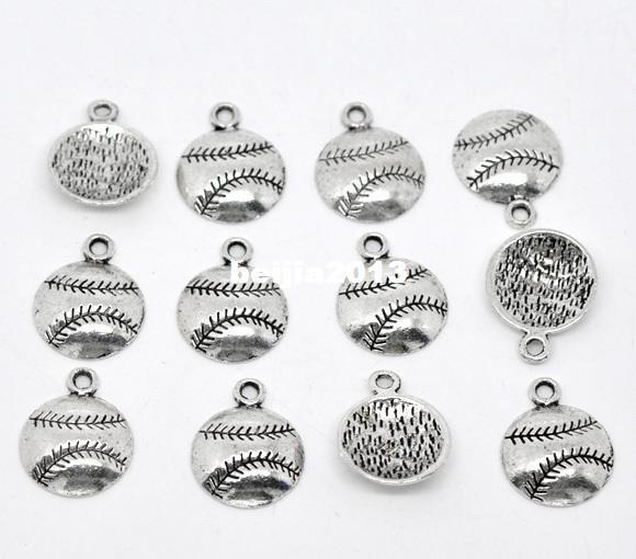 100st CHARMS ANTIQUE SILVER TONE Baseball / Softball Charm Pendants 18x14.5mm Smycken Resultat Grossistnivå DIY