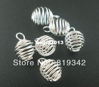 Wholesale Bead Pendant Silver - Free Shipping 100pcs lot Silver Plated Spiral Bead Cages Pendants Findings 9x13mm Jewelry Findings New Jewelry making DIY