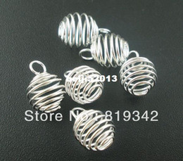 Wholesale Silver Jewelry Charm Pendants - Free Shipping 100pcs lot Silver Plated Spiral Bead Cages Pendants Findings 9x13mm Jewelry Findings New Jewelry making DIY