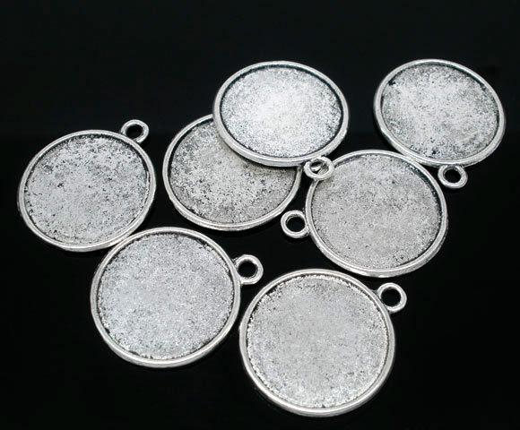Antique Silver Tone Round Double-Side Picture Frame Pendants 28x25mmFit 22mm Jewelry Findings making DIY
