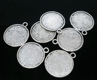 Wholesale Wholesale Picture Frames Free Shipping - Free Shipping 20pcs Antique Silver Tone Round Double-Side Picture Frame Pendants 28x25mm(Fit 22mm) Jewelry Findings making DIY