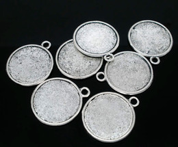 Wholesale Wholesale Silver Picture Charms - Free Shipping 20pcs Antique Silver Tone Round Double-Side Picture Frame Pendants 28x25mm(Fit 22mm) Jewelry Findings making DIY