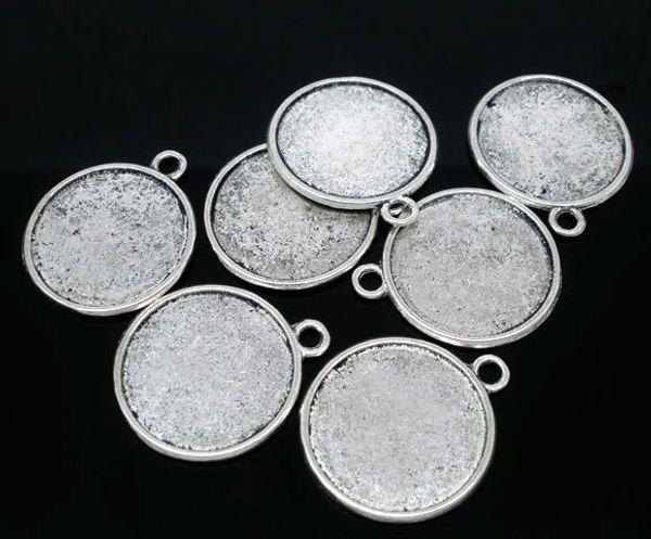 Freies Verschiffen 20pcs antike silberne Ton runde doppelseitige Bilderrahmen Anhänger 28x25mm (Fit 22mm) Schmuckzubehör machen DIY