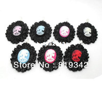 Wholesale Skull Cameos - Free Shipping 6pcs lot LARGE FLOWER CAMEO SETTINGS SKELETON CAMEO PENDANTS GOTHIC EMO PUNK SKULL VINTAGE STEAMPUNK