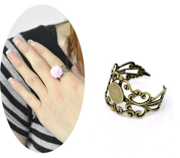 Antique Bronze Adjustable Filigree Cabochon Ring Base Blank Settings US8 Jewelry Findings making DIY
